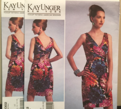Vogue American Designer Kay Unger Fitted V-Neck Dress Size 6-14 Pattern ... - $15.00