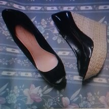 Diva Jessica Simpson 9.5 wedge heels women shoes black open toes platforms - $30.00