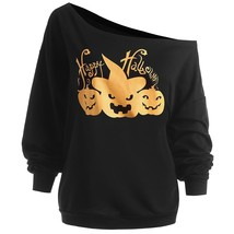 Plus Size Happy Halloween Pumpkin Sweatshirt(BLACK 4XL) - $19.75