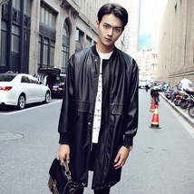 Men Leather Coat Winter Long Leather Coat Genuine Real Leather Trench COAT-UK38 - $214.46