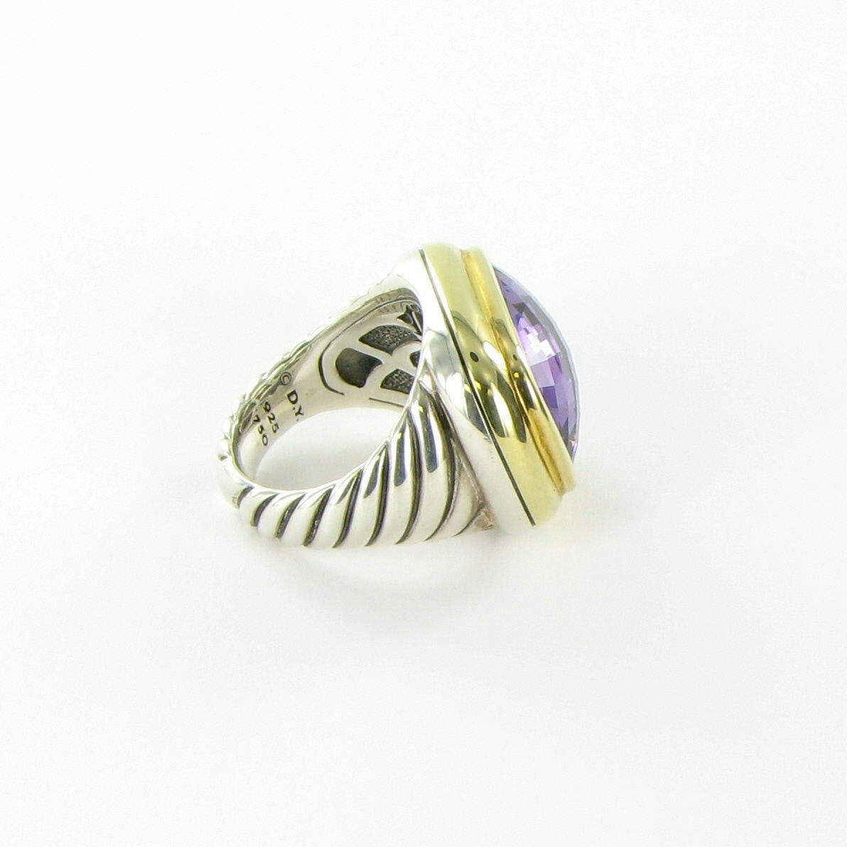David Yurman Waverly Ring 18mm Amethyst 18K Yellow Gold Sterling Size 6 $1750
