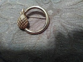 Vintage Golden Pin Brooch Pineapple Accent Circle Pin Or Scarf Pin - $18.00