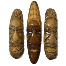 Ethnic Tribal Hand Carved Wood Mask Face Male Men African Wall Art Tall ... - $93.50
