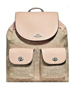 Coach Billie Backpack In Signature Jacquard Light Khaki/Light Pink - $225.00