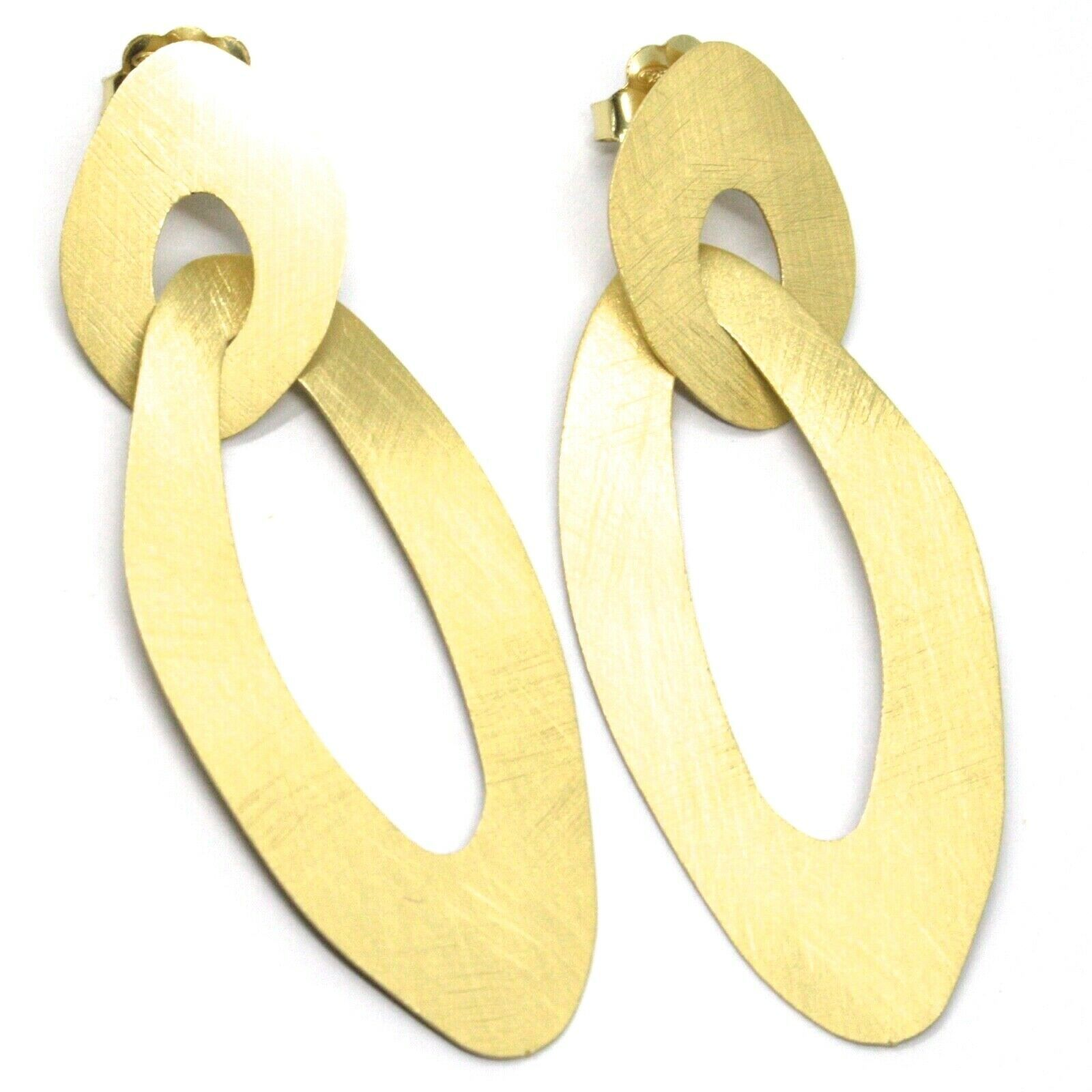 925 STERLING SILVER BIG PENDANT EARRINGS 7cm, FLAT OVAL, YELLOW, SATIN FINISH