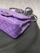 AUTHENTIC CHANEL 2017 PURPLE QUILTED PATENT LEATHER SQUARE MINI CLASSIC FLAP BAG image 4