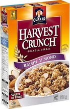 Quaker Harvest Crunch Granola Raisin Almond Cereal 6 x 510g boxes Canada  - $89.99
