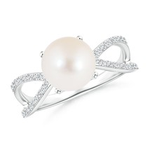 8mm Freshwater Cultured Pearl and Diamond Split Shank Ring Silver/Gold S... - $498.07+