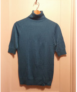 Ann Taylor Turtleneck Short Sleeve Sweater Top Rayon Blend Turquoise M P... - $25.55