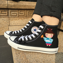 Cartoon Dolls Canvas Shoes Unisex Classic Black Converse All Star Chuck Sneakers - $119.00