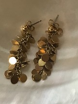 Estate Long Flat Thin Goldtone Round Disk Cluster Dangle Post Earrings f... - $11.29