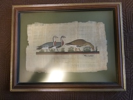 Genuine Egytpian Picture on Papyrus Paper, mounted on background and fra... - $50.00