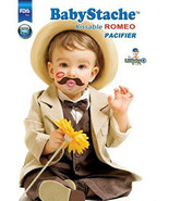 BabyStache Kissable Baby Pacifier ROMEO Brown Child Infant Shower Gift - $8.99