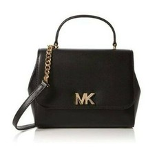 Michael Kors Mott Leather Satchel Crossbody Signature Turn Lock Black New - $162.36