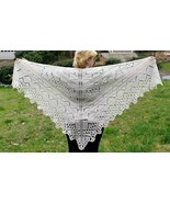Akimova: KNITTED  SHAWL, Off White Color - $50.00