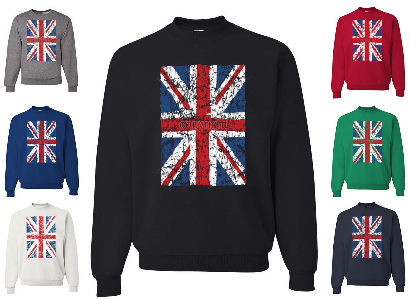Primary image for Union Jack Crew Neck Sweatshirt UK United Kingdom Distressed British Flag Brexit