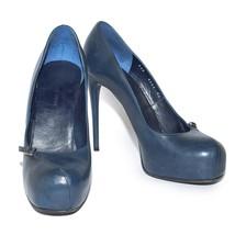 NINA RICCI Blue Leather High Heels Shoes Platform Round Toe Pumps Stilettos US 9 - $200.71