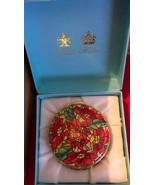 HALCYON DAYS ENAMEL BOX -Designed by  TIFFANY & CO.  - FLOWERS - Poinset... - $388.03