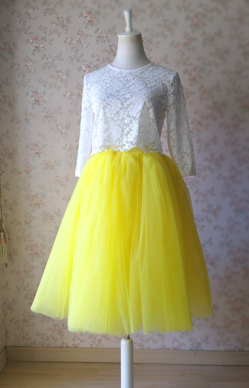 Yellow Puffy Midi Tulle Skirt Plus Size Tulle Tutu Skirt 6-layered Yellow Skirt