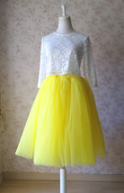 Yellow Puffy Midi Tulle Skirt Plus Size Tulle Tutu Skirt 6-layered Yellow Skirt  image 1