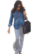ts12N3L Celebrity Style Womens Vintage Boyfriend Chambray Long Denim Shi... - $39.99
