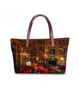 FORUDESIGNS Vintage Library Book Shelf Printing Women Handbags Tote Shou... - $37.66