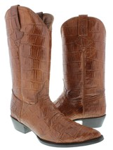 Mens Cognac Original Western Full Crocodile Big Belly Design Leather Rodeo - $134.99