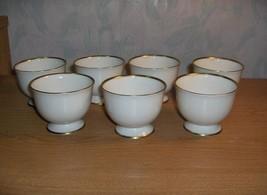 7 Vintage Custard Cups Flintridge China Montrose Ivory Gold Trim Califor... - $133.65