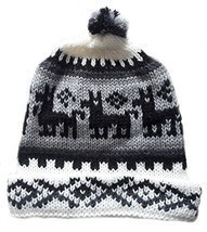 Alpakaandmore, Unisex Black and White Peruvian Beanie Hat, Alpaca Wool H... - $22.77