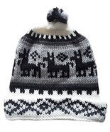 Alpakaandmore, Unisex Black and White Peruvian Beanie Hat, Alpaca Wool H... - $30.03 CAD