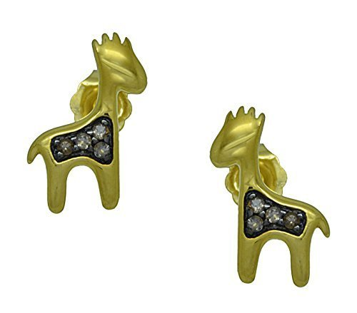 10 k Yellow Gold Genuine Smoky Quartz Giraffe Kids Earrings
