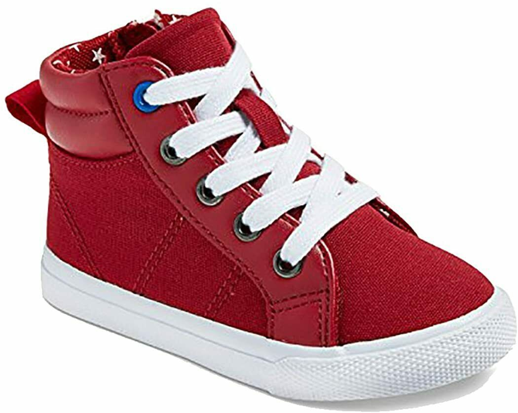 Cat & Jack Toddler Boys' Red Hardy Mid Top Canvas Sneakers Side Zipper Stars NEW