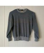Vintage Sweater Emporium Velour Men's Large Gray Blue Stripe - $42.08