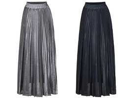 SILVER SKIRT Pleated Skirt Women High Waisted Full Pleated Party Skirt US0-US18 image 2