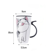 600 Ml Cat Ceramic Porcelain Coffee Cup Porcelain With Lid Large Capacity - $14.99