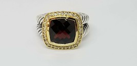 David Yurman 11mm Albion Ring with Garnet and Diamonds with 18K Gold size 7.5 - $1,138.50