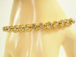 SPARKLING CLEAR RHINESTONE GOLD PLATE TENNIS BRACELET CLASSIC VINTAGE ES... - $16.82