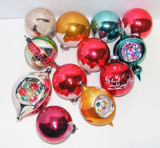 12 Large Vintage Glass Christmas Ornaments - $24.99
