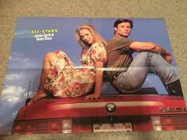 Jennie Garth Jason Priestley Grant Show teen magazine poster clipping on a car