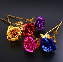 Rose Flower Multi-Color Plated Rose Romantic Valentine Day - 1 x Random Color image 4