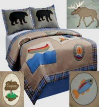 CAMPING ADVENTURE FULL SIZE BLUE BROWN  QUILT SHAMS 3PC BEDDING SET NEW - $80.94
