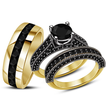 Black Diamond His & Her Wedding Trio Ring Set 14k Yellow Gold Finish 925... - $152.99