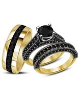 Black Diamond His & Her Wedding Trio Ring Set 14k Yellow Gold Finish 925... - $122.39