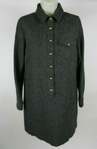 J. Crew 4 Dress Straight Gray LS Herringbone Half Button Up Gold Buttons... - $49.48