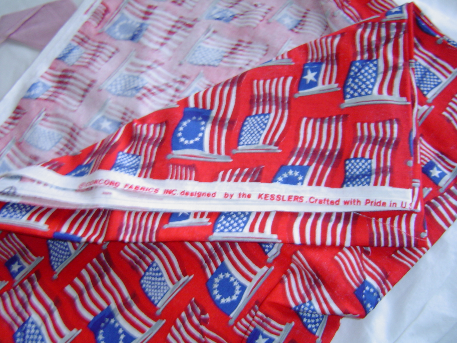 Concord Kesslers United States Flags Revolution Red Cotton Fabric Quilt  Craft