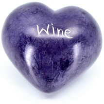 Vaneal Group Hand Carved Soapstone Whine/Wine 2-Sided Purple Heart Paperweight