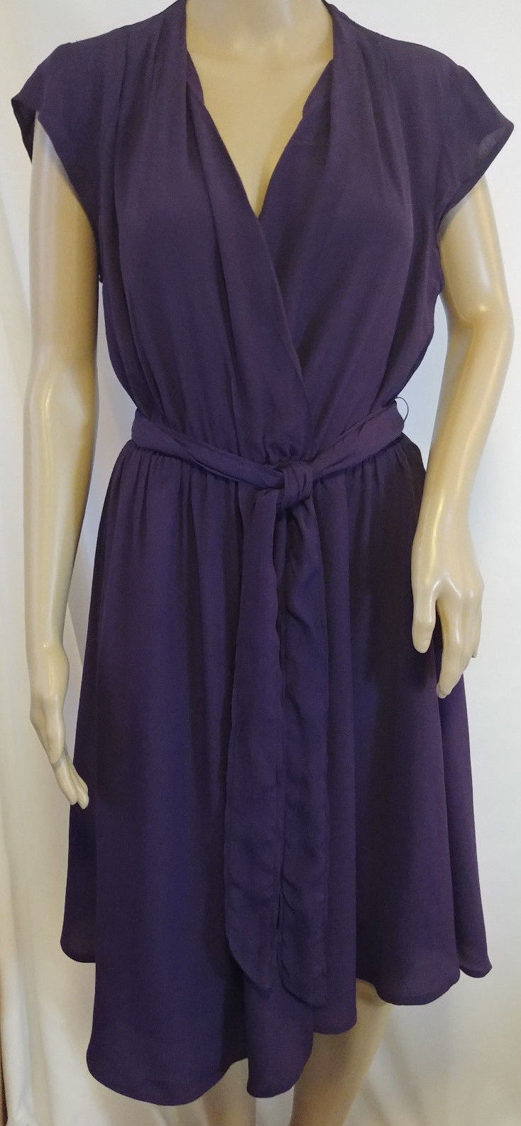 Anthropologie Maeve Noronha Wrap Dress Size Small Purple Crepe Tie Waist