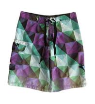 Hurley Swim Trunks Boys 14 Surf Board Shorts Purple Green Geometric - $15.83