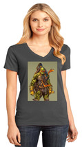 Michelangelo TMNT District Made Ladies Perfect V-Neck T-Shirt Size XS To 4XL - $19.99+