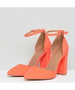 ASOS DESIGN | Size 7 Women's Pebble Pointed High Heels Coral Chunky Ankl... - $39.60